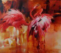 standing pink flamingos