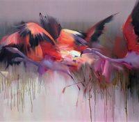 orange flamingos flying