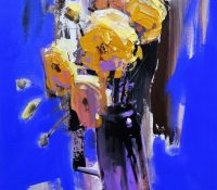yellow flowers in vase on blue background