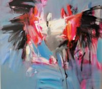 abstract flamingos dancing