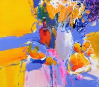 abstract yellow and blue flowers