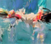 abstract flamingos flying