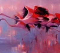 pink flamingos flying