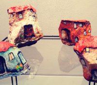 houses painted on rocks