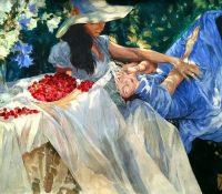 women eating cherries in the garden