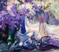 purple lilacs stillife