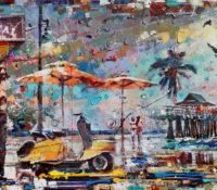 urban beach scene with pier and umbrellas