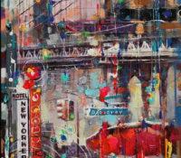 new york urban scene with bridge