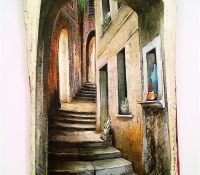 archway and winding narrow road little window