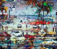 urban beach scene with vintage cars