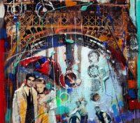 Paris urban scene with couple