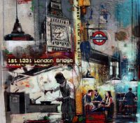 urban london scene with restaurant