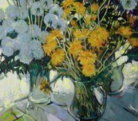 white and yellow dandelion stillife