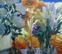 sunflower and tulip stillife