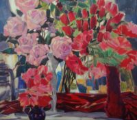 red and pink flower stillife