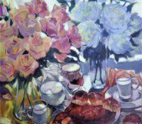flowers and breakfast foods stillife