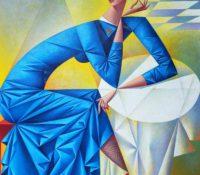 stewardess in blue dress