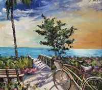 bike on path by the beach