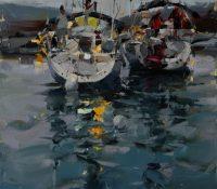 nighttime boats at harbor
