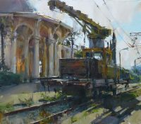 old train station and machinery
