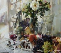 floral stillife with grapes
