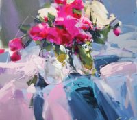 white pink abstract still life with flowers