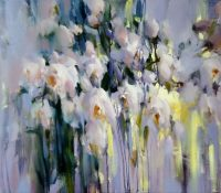 white abstract roses
