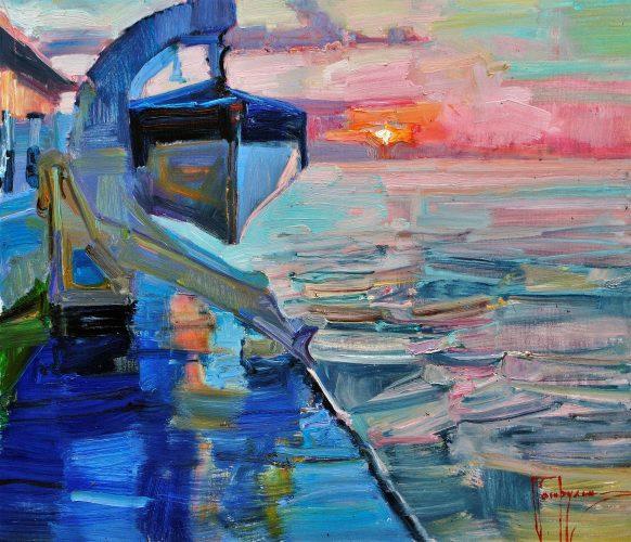 Pearl Sunrise over the Ocean 24 x 28