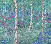 birches and flowers