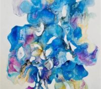 blue pink abstract painting