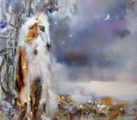 borzoi dog in the snow
