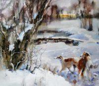 borzoi dogs in the snow