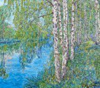 birches over a lake