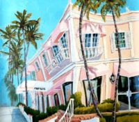 pink building and palm trees