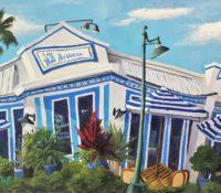 white and blue restaurant