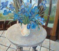 iris stillife on table