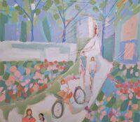 kids on bikes in the garden