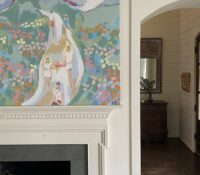 painting hanging over fire place