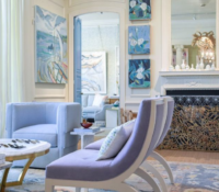 purple chairs and paintings in interior