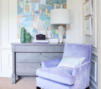 purple chair and interior with painting